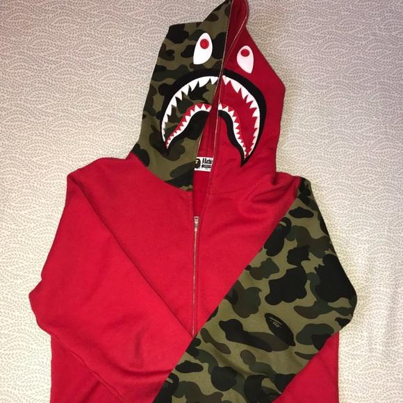 715724c771f2 Bape Other - Authentic Bape Sleeve Camo Shark Hoodie Red